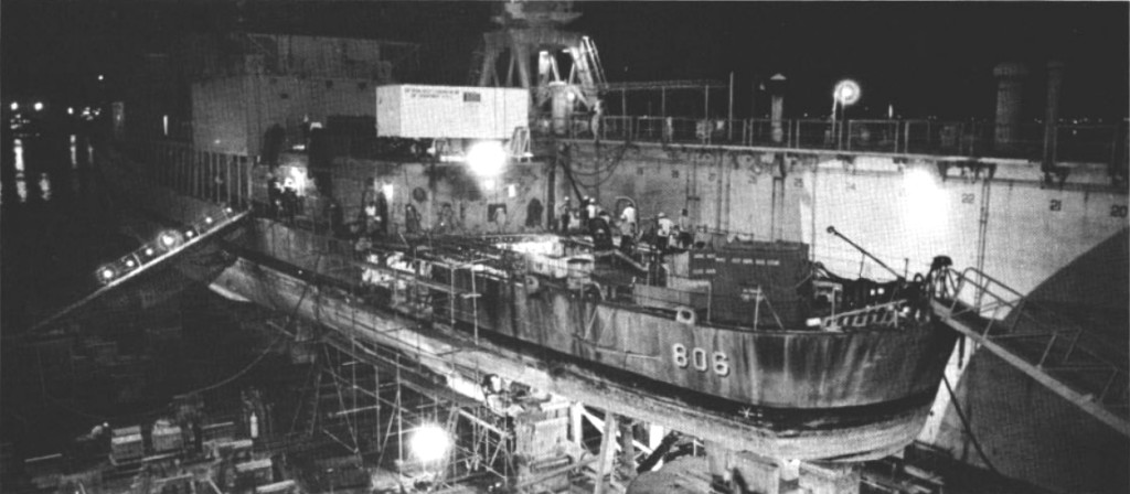 Figure 3 - The USS Higbee (DD-806), under repair in the Philippines after the attack by the VPAF.