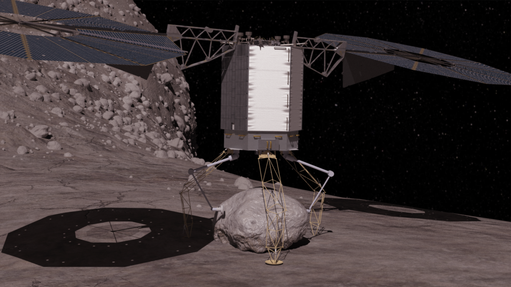 In this concept image, the robotic vehicle descends to the surface of a large asteroid to collect a boulder that it can redirect to a distant retrograde lunar orbit.