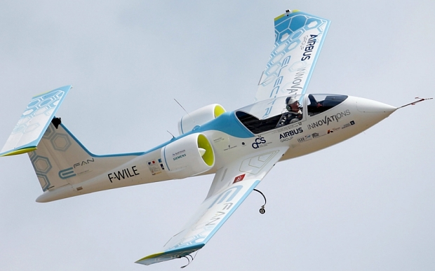 An Airbus E-Fan.1, an electrical aircraft participates in flying display during the opening of the 51st Paris Air Show at Le Bourget airport near Paris June 16, 2015.