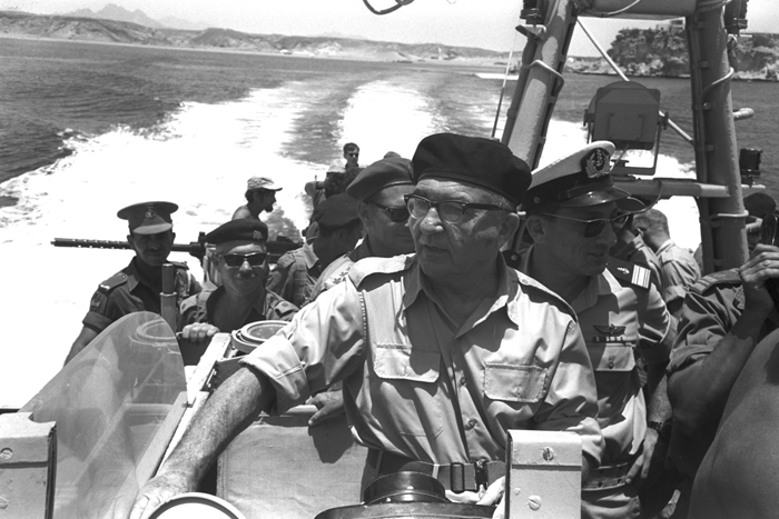 PRIME MINISTER LEVY ESHKOL and O.C. ISRAEL NAVY, ALUF SHLOMO HAREL ON ONE OF THE ISRAEL PATROL VESSELS IN THE STRAITS OF TIRAN.